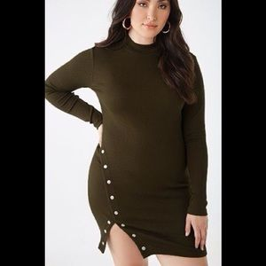 🎁NEW! Plus Size Olive Ribbed Bodycon Dress
